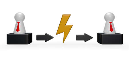 tokens: flash symbol between tokens with tie - 3d illustration