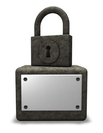stone padlock monument with blank sign - 3d illustration Stock Illustration - 18265310