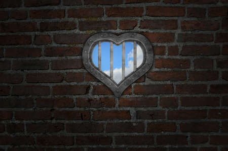 heart prison window in old brick wall - 3d illustration illustration