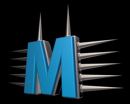 prickles: letter m with metal prickles on black background - 3d illustration