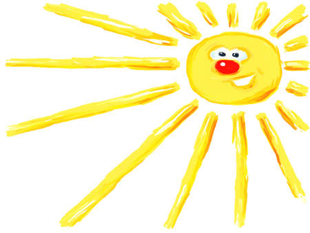 funny painted cartoon sun illustration
