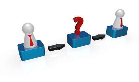 simple token figures with tie and question mark in a row - 3d illustration Stock Illustration - 18378783