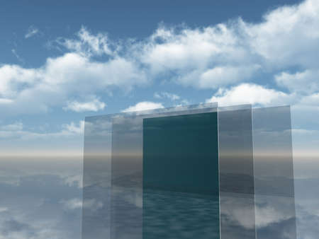glass panes under blue sky - 3d illustration illustration