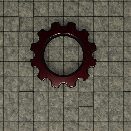 gearwheel: gear wheel on stone background - 3d illustration Stock Photo
