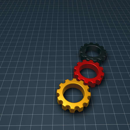 three gear wheels in german colors - 3d illustration illustration