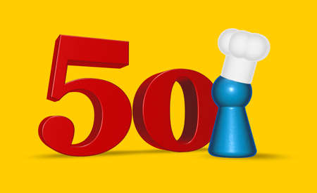 fifty: cook token and number fifty on yellow background - 3d illustration
