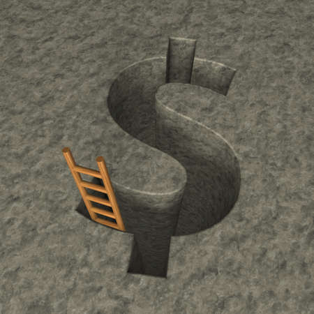 ascended: dollar symbol hole and wooden letter - 3d illustration Stock Photo