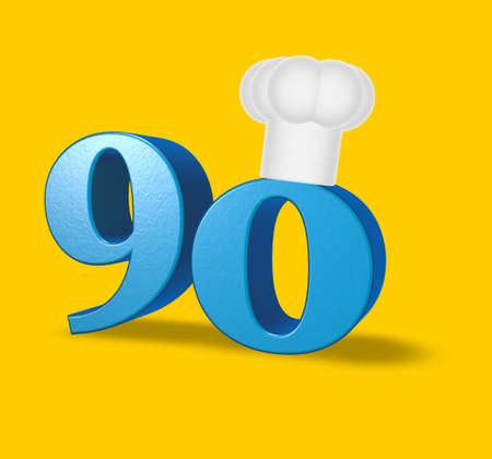 ninety: number ninety with cook hat on yellow background - 3d illustration Stock Photo