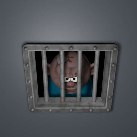 gangster behind riveted steel prison window - 3d illustration illustration