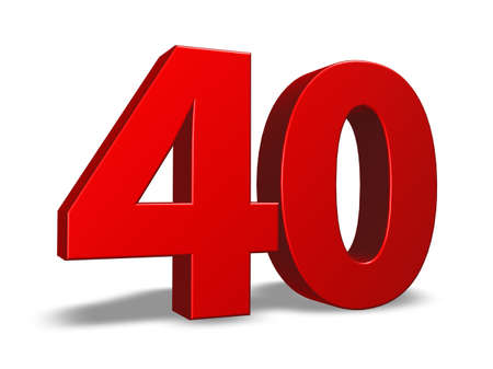 40: red number forty on white background - 3d illustration Stock Photo