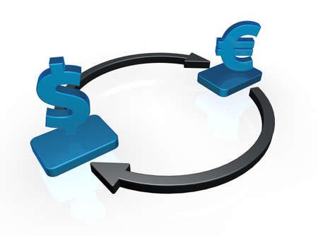 cash cycle: currency symbols euro and dollar in circuit - 3d illustration