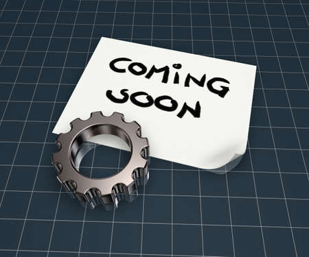 coming soon tag on paper sheet and gear wheel - 3d illustration illustration