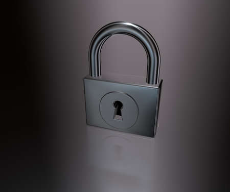 padlock on metal background - 3d illustration Stock Illustration - 18557497