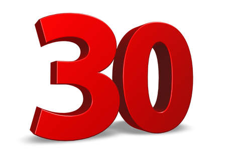 thirty: red number thirty on white background - 3d illustration Stock Photo