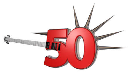 number fifty guitar with prickles on white background - 3d illustration illustration