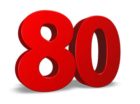 eighty: red number eighty on white background - 3d illustration