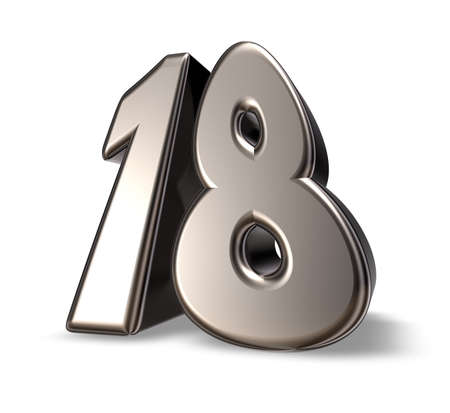 eighteen: metal number eighteen on white background - 3d illustration
