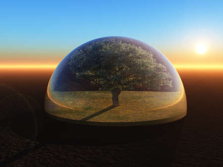 glass dome: tree under a glass dome - 3d illustration