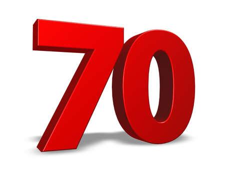 seventy: numero rosso settanta su sfondo bianco - 3d illustrazione