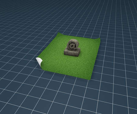 stone email symbol on grass isle - 3d illustration illustration