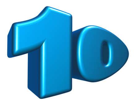 cartoon number ten on white background - 3d illustration illustration