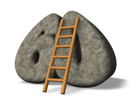 sixty: ladder leans on stone number sixty - 3d illustration