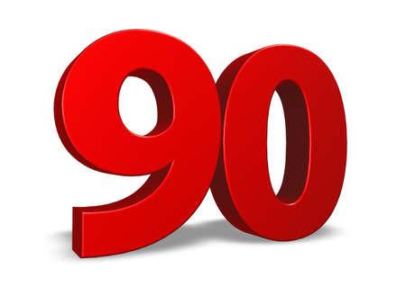 ninety: red number ninety on white background - 3d illustration Stock Photo