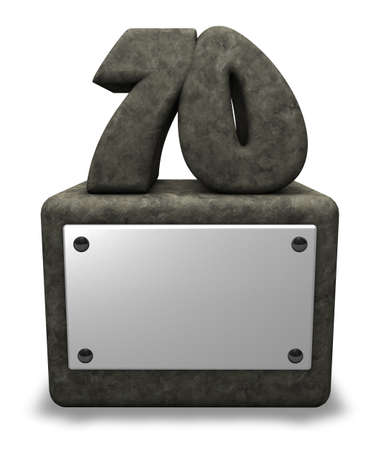 seventy: stone number seventy on socket - 3d illustration