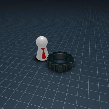 gear wheel and token character with tie - 3d illustration illustration