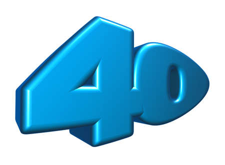 forty: cartoon number forty on white background - 3d illustration