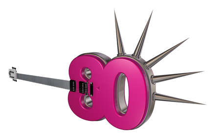 prickles: number eighty guitar with prickles on white background - 3d illustration Stock Photo