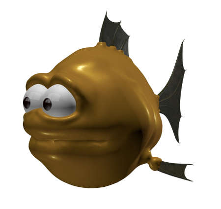 strange cartoon fish - 3d illustration illustration