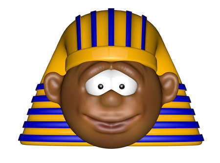 czar: funny cartoon pharaoh head on white background - 3d illustration Stock Photo