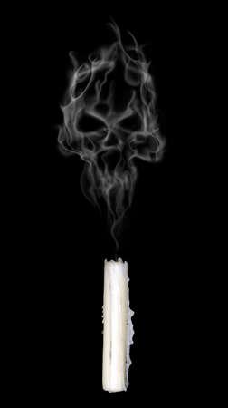 candle smoke makes the shape of spooky skull photo