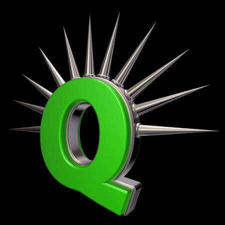 letter q with metal prickles on black background - 3d illustration illustration