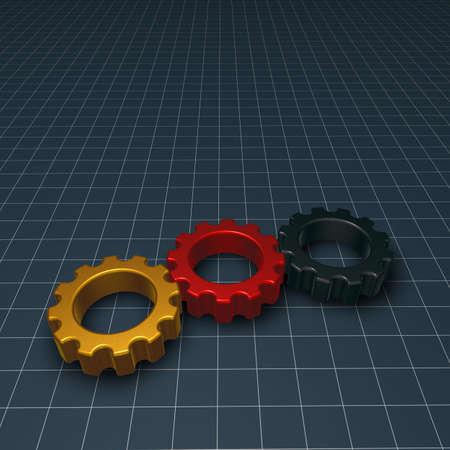 gearwheel: three gear wheels in german colors - 3d illustration