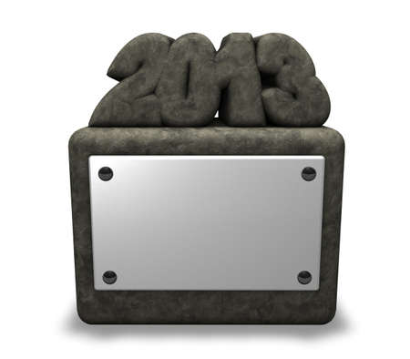 two thousand thirteen: stone number 2013 on socket with blank white sign - 3d illustration