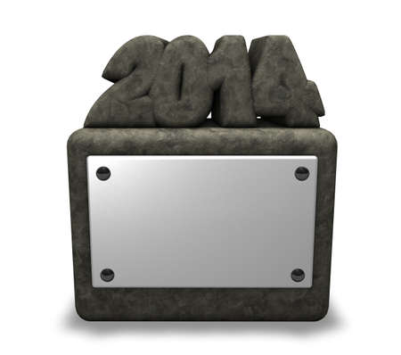 two thousand thirteen: stone number 2014 on socket with blank white sign - 3d illustration