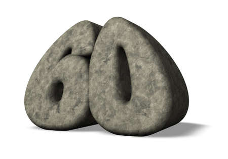 sixty: stone number sixty - 3d illustration Stock Photo