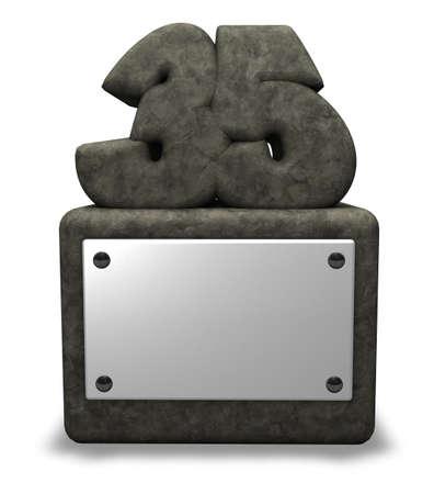 thirty five: Numero pietra trentacinque sulla presa - 3d illustrazione