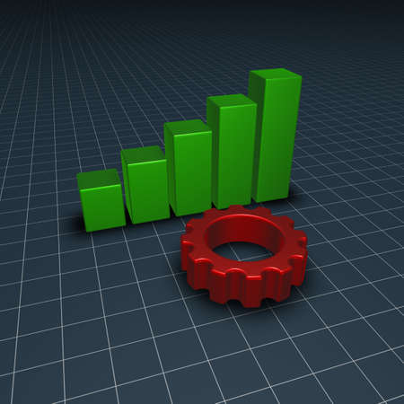 gear wheel and business graph  - 3d illustration illustration