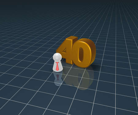 number forty and play figure with tie - 3d illustration illustration