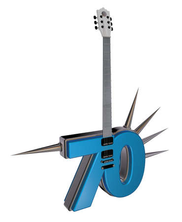 number seventy guitar with prickles on white background - 3d illustration illustration