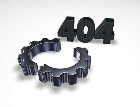 blocked: error 404 page not found - message and broken cogwheel - 3d illustration Stock Photo
