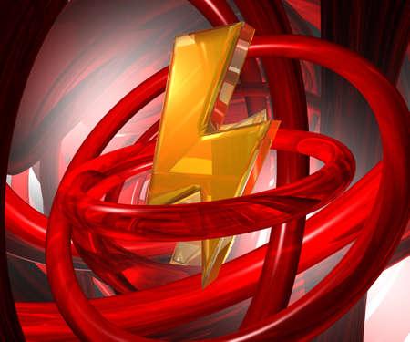streak lightning: flash lightning symbol in abstract futuristic space - 3d illustration Stock Photo