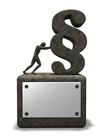 pushes: man pushes paragraph symbol - stone monument - 3d illustration