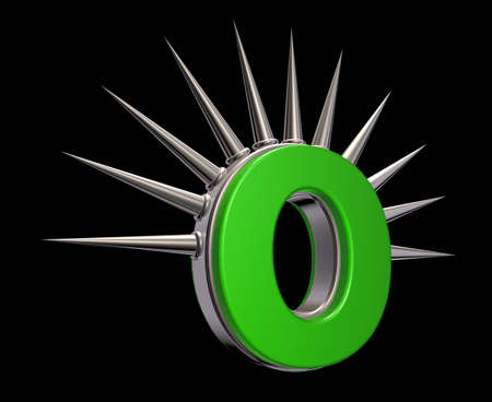 letter o with metal prickles on black background - 3d illustration illustration