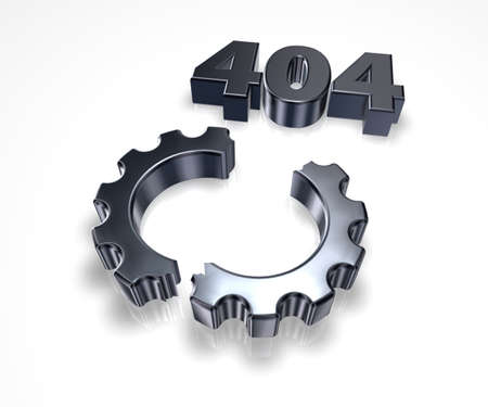 fault: error 404 page not found - message and broken cogwheel - 3d illustration Stock Photo
