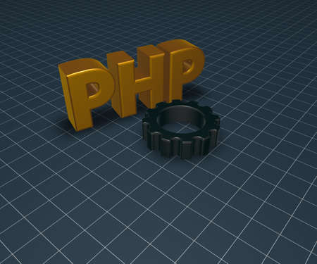 php tag and gear wheel - 3d illustration illustration