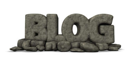 article writing: stone blog on white background - 3d illustration
